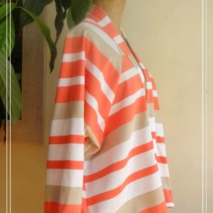 Veste estivale kimono rayures corail blanc beige - vue de côté